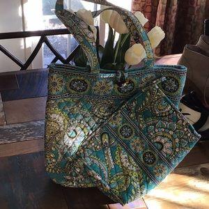 2 Vera Bradley Bags Teal Paisley Pattern